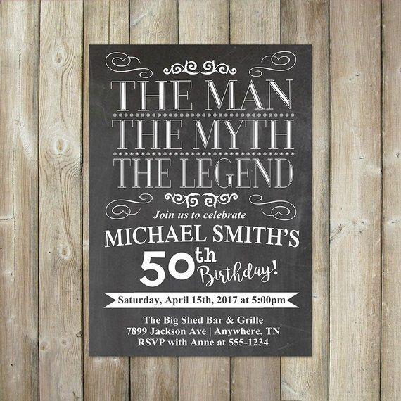 Adult Birthday Invitation The Man The Myth The Legend