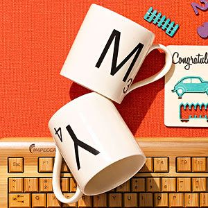 The perfect gift for a coffee-and-word loving mom: Ceramic Scrabble Mugs! $12 | Every Day Faves: Etc., rachaelraymag.com