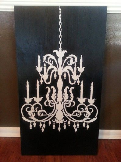 Stencil trendy black and white wall art using the Chandelier Stencil from Cutting Edge Stencils. http://www.cuttingedgestencils.com/chandelier-stencil-decal.html