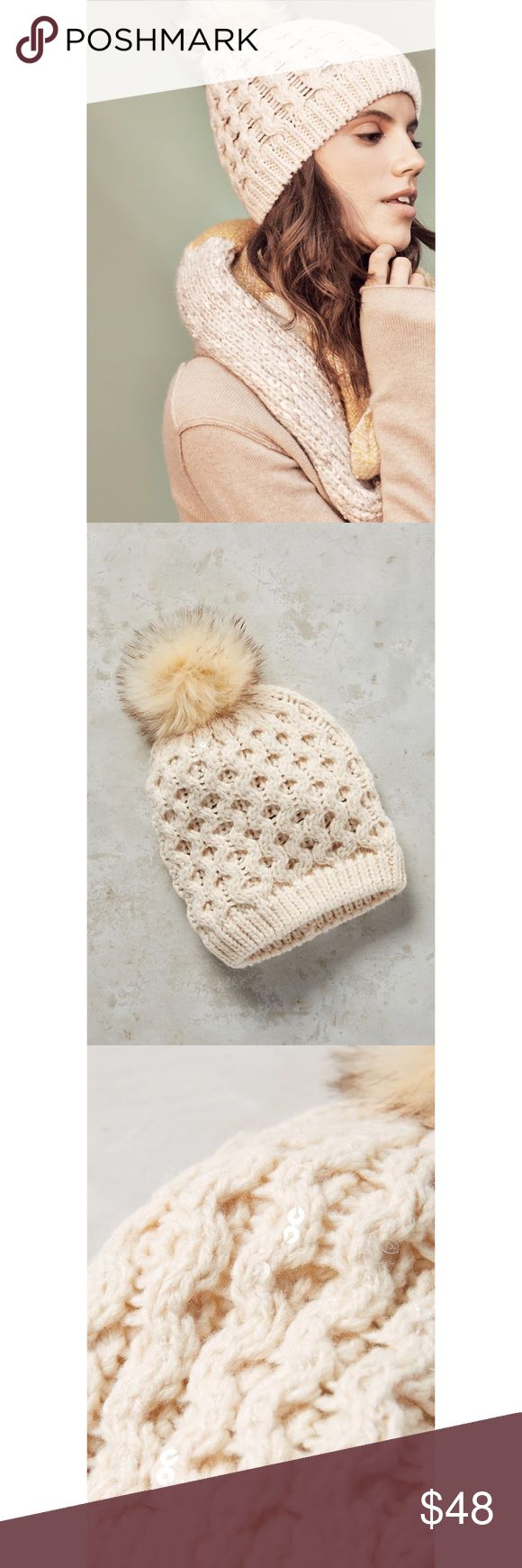 Anthropologie Estes Park Creme Beanie Details: This cozy beanie will keep you toasty warm on chilly days. Whether you're hitting the slopes or out running errands, this beanie topped with a pom and a little bit of sparkle from the clear tiny sequin detail will add cheer and whimsy to your day. Size: One Size. Brand new with tags. Perfect condition; no flaws. Blogger favorite; this style is sold out. Including tax/Anthropologie shipping, retail: $58.  Acrylic Sequin detail Dry clean Imported…