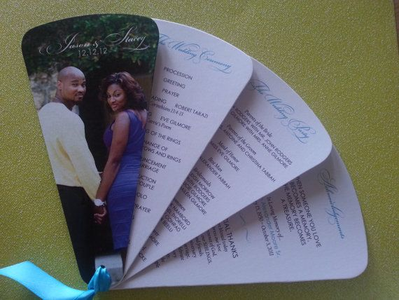 Items similar to Wedding Program: Fan Wedding Program with Custom Photo Cover on Etsy