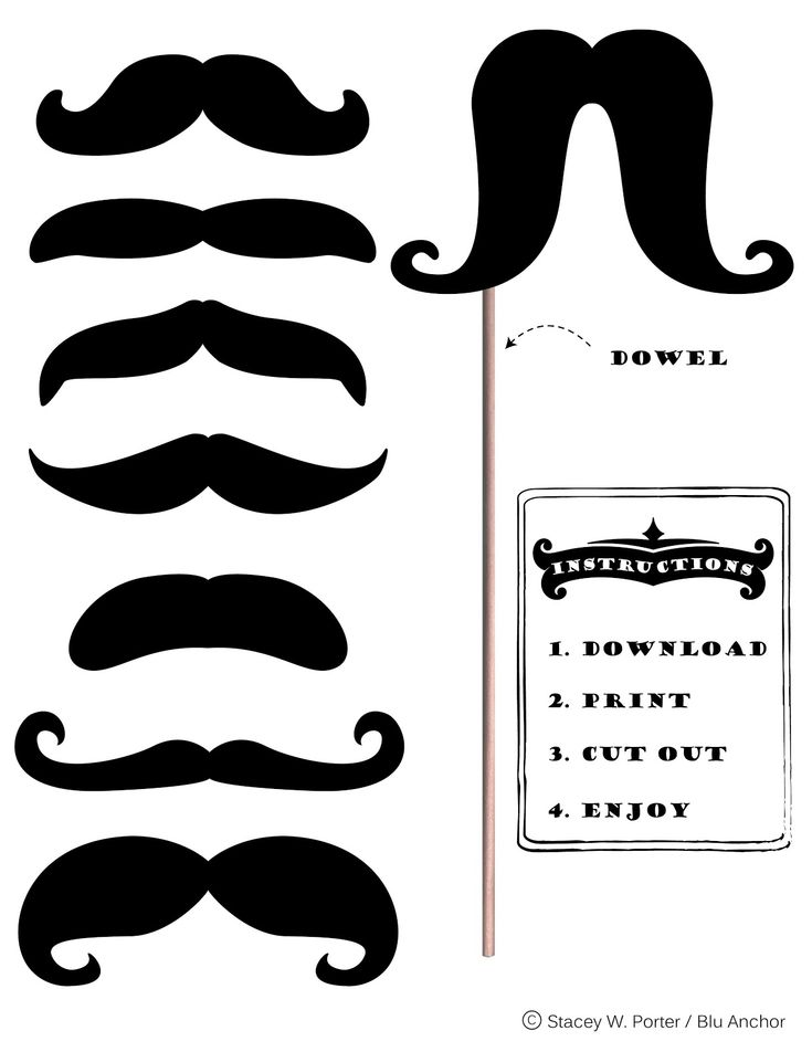 Free Printable Moustache Brigade for #Movember - Photo booth prop