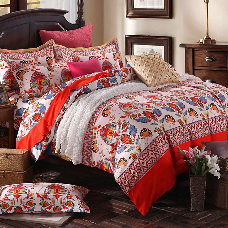 red beige and blue tribal pattern stripe print shabby chic western cabin brushed cotton full queen size bedding sets