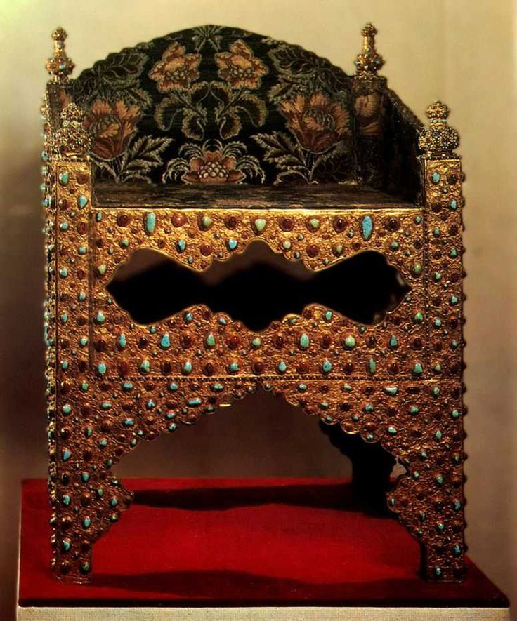 The throne of Tzar Boris Godunov, known as The Golden Chair. Was ordered in the end of the 16th century in Persia. According to the documents kept in The Armory Chamber of Moscow Kremlin, the throne was sent by Shah Abbas I to Boris in 1604. In 1742 the throne was used for the coronation of Elizabeth I, Peter The Great's daughter.
