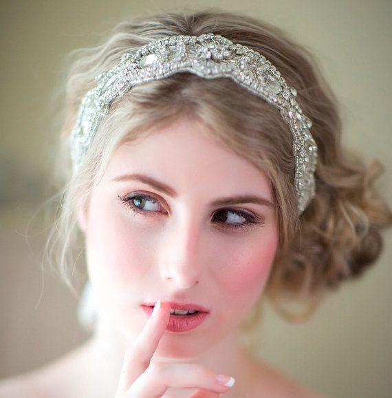 Bridal Ribbon Headband, Rhinestone Ribbon Headband, Wedding Head Piece, Wedding Hair Accessory