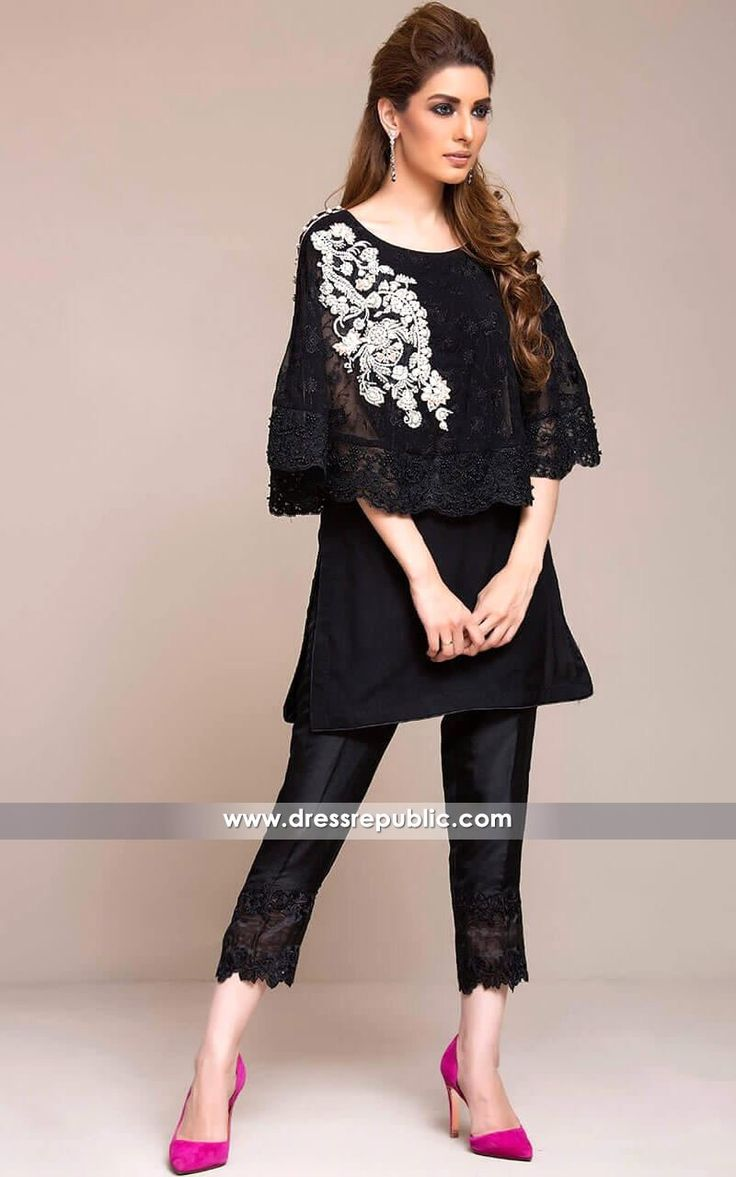 Zainab Chottani Pakistani Designer Casual Dresses in Black 2017 Collection Buy in Houston, Dallas, Miami, Los Angeles, Chicago, New York.