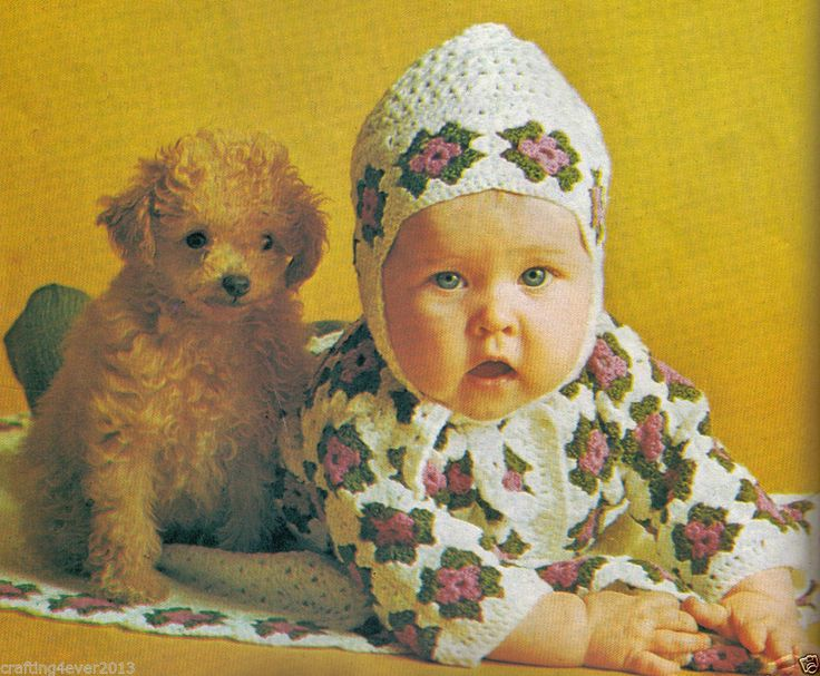 VINTAGE BABY GIRLS JACKET HAT & BLANKET ROSE SMALL SQUARES 4PLY CROCHET PATTERN