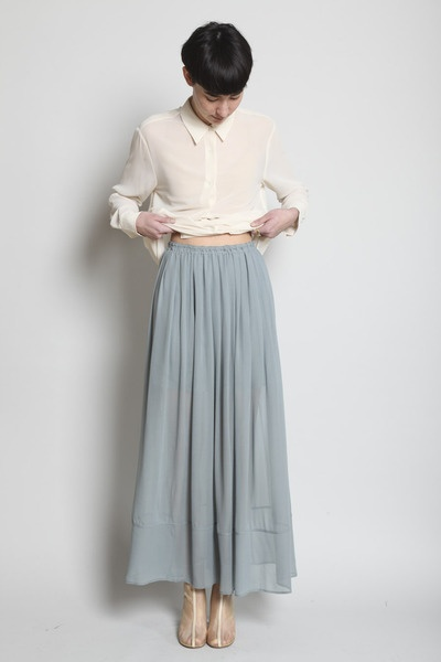 fashion, outfit, white blouse, pale grey blue maxi skirt... yes , all of it, pretty please.
