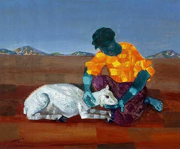 Boy with sheep(1954) - Oil on Canvas - Candido Portinari.