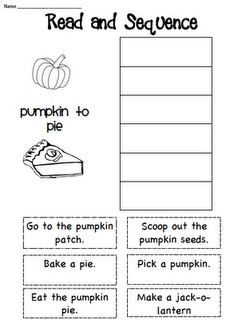 This would be a fun fall activity to do with a class. A book, with a pie in it, could be read aloud. The students then could work on this assignment about how to make a pie. The students will demonstrate their ability to retain the knowledge by cutting and gluing the bottom squares containing the instructions into the squares at the top of the page in the correct sequence.