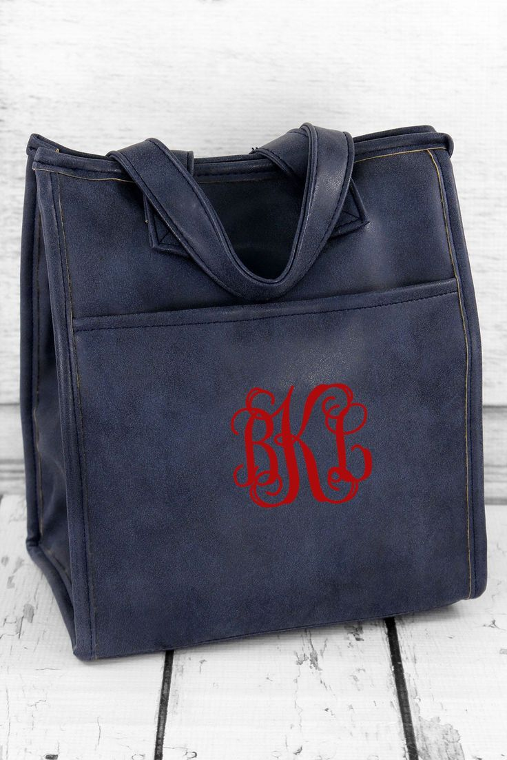 Navy Faux Leather Insulated Lunch Tote #9026-NAVY
