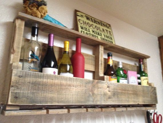 Custom order wall mounted pallet wine rack or by for Pallet wine bar