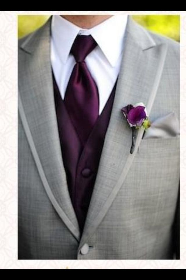 Gray suit with dark purple...my groom will be looking good!