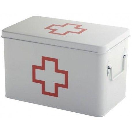Medicijnkist/Verbandtrommel Wit met rood kruis