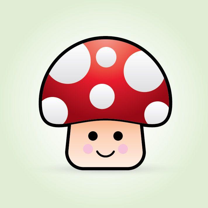 Cute vector mushroom character