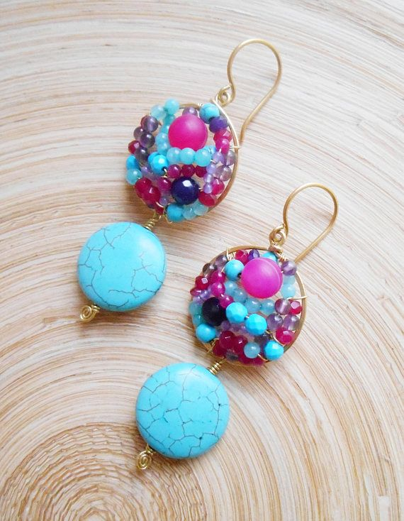 Colorfull, bright and vibrant, yet with a boho feminine flair, these one-of-a-kind Mermaid mosaic earrings are a captivating combination of turquoise howlite smooth coin-shaped beads with a mix of gemstones in saturated colors: fuchsia pink, purple and turquoise in order to create