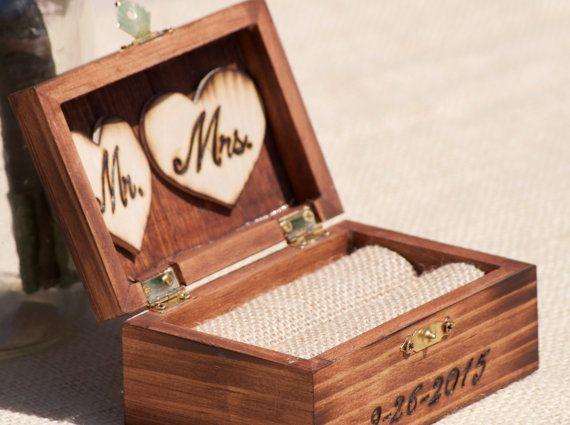 The 25 best ring bearer box ideas on pinterest wedding ring personalized rustic ring bearer box stained burnedengraved monogram ring bearer junglespirit Images