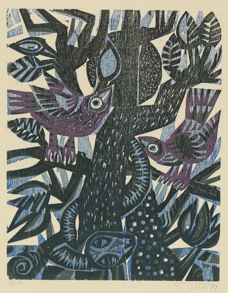 Alfred Pohl Birds Snake Tree Woodcut Color German Printmaking