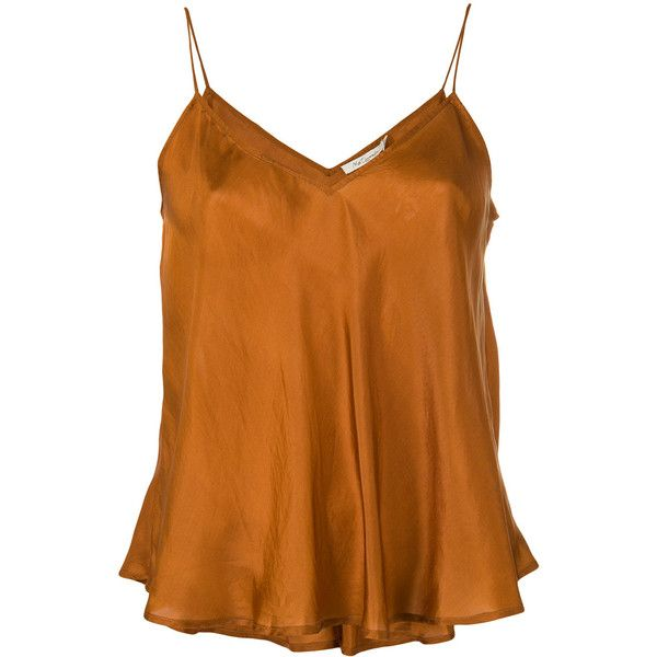 Mes Demoiselles camisole top (1.321.415 IDR) ❤ liked on Polyvore featuring tops, brown, brown top, cami top, brown cami, camisole tops and brown cami top