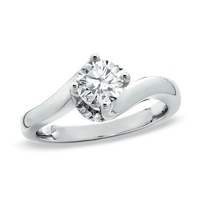 Incredible // Diamond Twist Solitaire Engagement Ring 14K White Gold