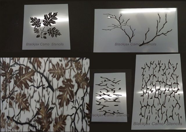 Camo Woodland 4Pc Oak Set $49.95 Sale: $39.96 Save: 20% off Perfect For Blinds,Duck Boats,Cars And Trucks, ATVs 1. One Large 20x12 Real Look Branches Stencil. 2. One Large 12x12 Real Look Oak Leaf/Acorns Stencil. 3. One Large 20x12 Background Bark Stencil. 4. One 12x8 Background Bark Stencil For Hard To Reach Areas. 5. Each Stencil Is Numbered And Appropriate Camo Color Provided Right On The Stencil Itself Taking Any Of The Guess Work Out Of Camouflaging Your Boat, Truck, Blind, ATV.