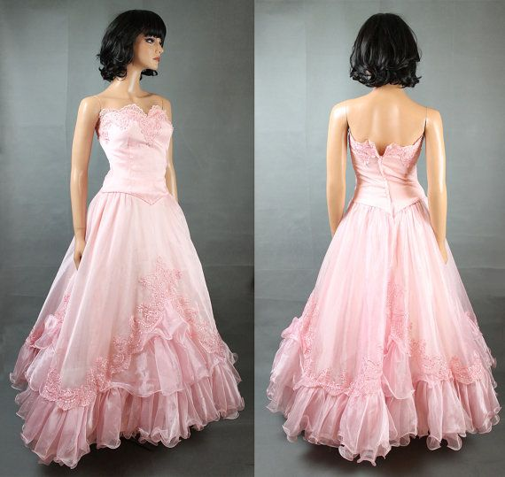80s Strapless Prom Dress Jrs XS Long Pink by HepCatClothes on Etsy