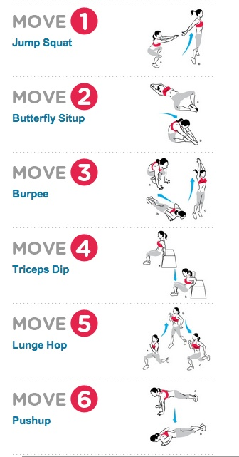 Do-Anywhere CrossFit!   Do 12 reps of each exercise, moving from one to the next without rest. Complete five rounds and note how long it takes you to finish. Aim to do the workout faster next time.  EXERCISE ORDER: 3, 4, 5, 2, 6, 1