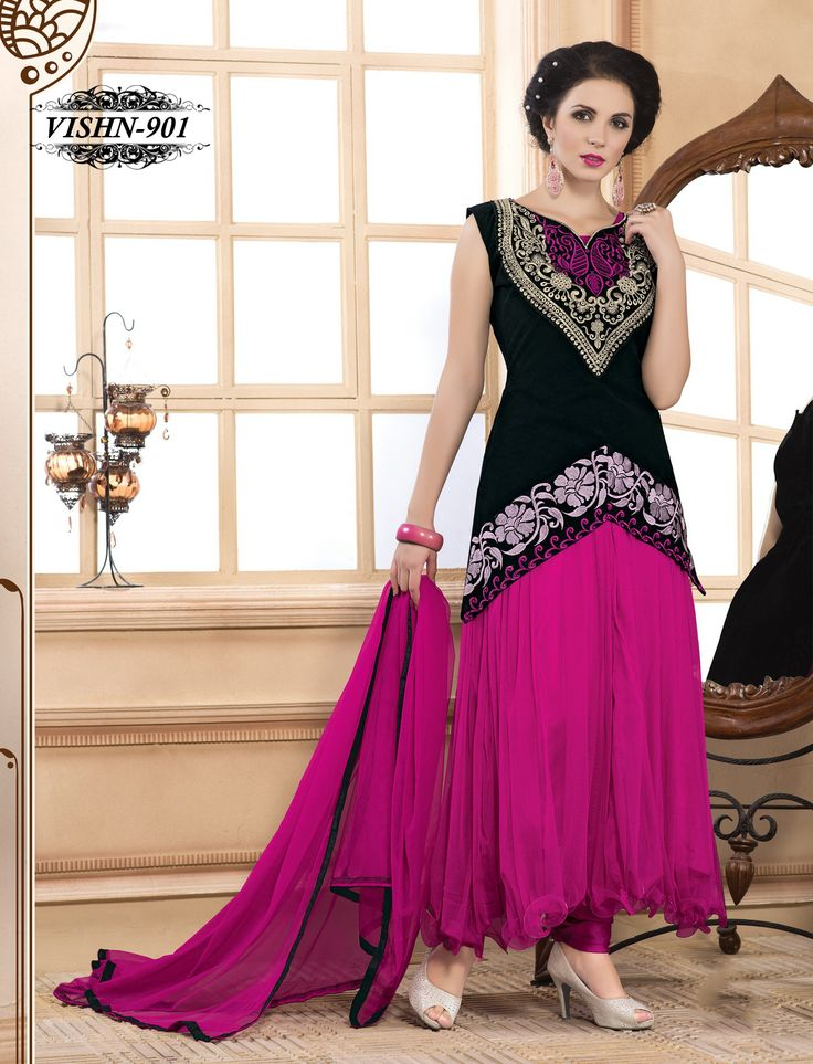Shonaya Anarkali Dark Pink Designer Embroidered Net Semi Stiched Salwar Suit