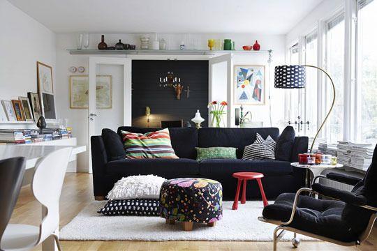 LOVEDScandinavian Living, White Living, Scandinavian Design, Scandinavian Interiors, Livingroom, Interiors Design, Living Room, Black White, White Wall
