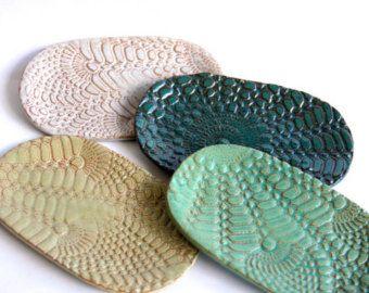Portasapone in ceramica foglia ceramiche fatte di ProdigalPottery