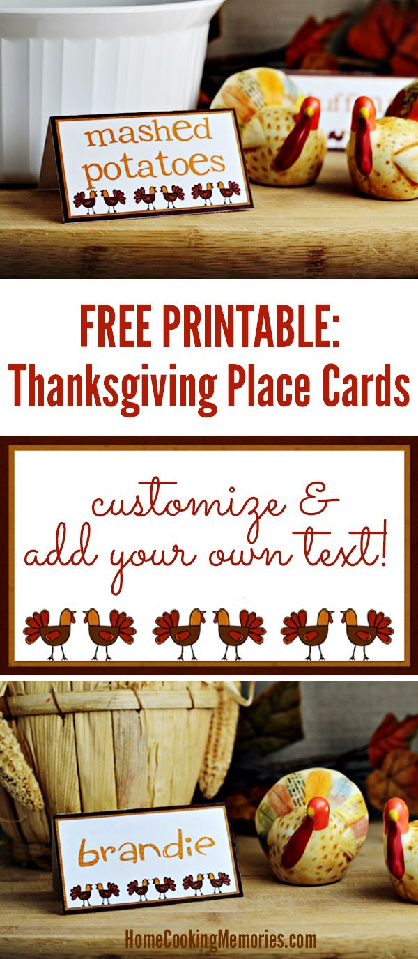 Free Thanksgiving Printables! Print these Thanksgiving Place Cards and customize with your own text! Fun way to to label food on a buffet table or to assign seating at your Thanksgiving dinner table.