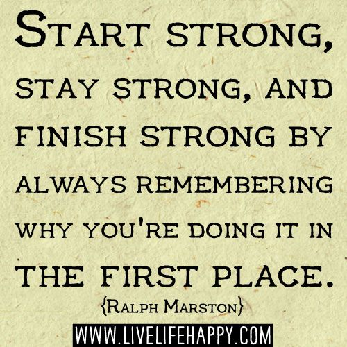 Finish Work Quotes: Start Strong, Stay Strong, And Finish Strong By Always