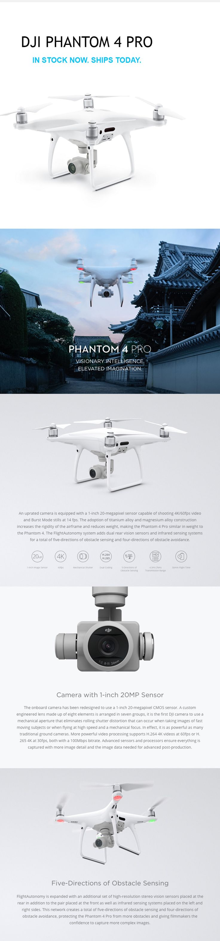 "DJI PHANTOM 4 PRO DRONE with Gimbal Camera with 1"" CMOS Sensor. 4K 60fps.  