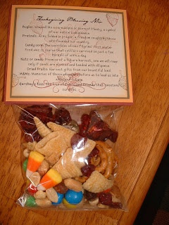 Thanksgiving gifts: Cute snack for the class. Lists the contents and why there were important to the colonies.