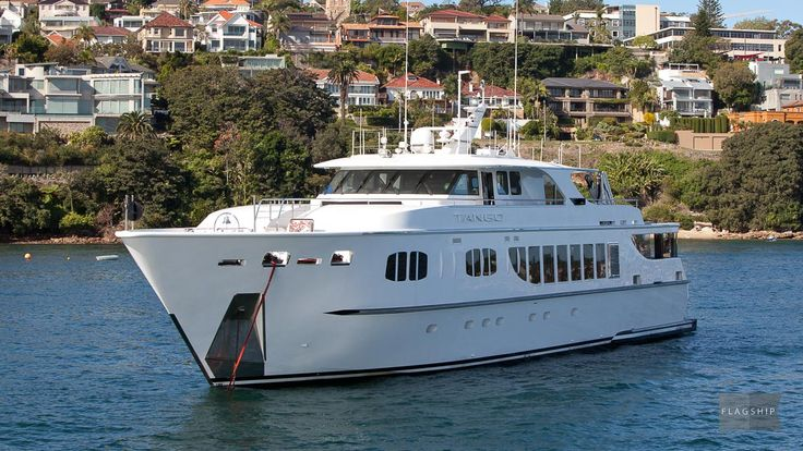 """Recently extended to 45 metres of absolute pleasure boat with the addition of a new """"beach club"""" area at the stern, Tango is arguably Australia's largest charter yacht. Tango is available for hire with Flagship Cruises."""