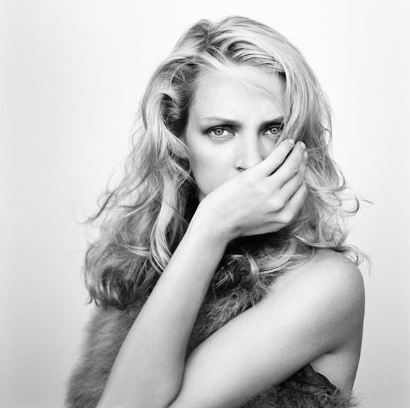 Black and White Photography Portrait of Uma Thurman by Brigitte Lacombe