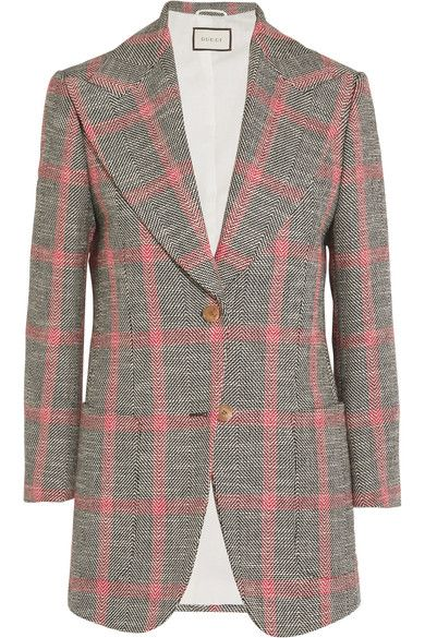 Alessandro Michele chose this blazer to open Gucci's Spring '17 show. Reflective of his obsession with collecting vintage pieces and fabrics, it's tailored from checked wool-blend tweed with exaggerated '70s lapels. It turns to reveal a characterful appliqué surrounded by embroidered lettering - a reference to an annual party held for punk guitarist Johnny Ramone at the Hollywood Forever Cemetery in LA. Style it exactly like the show with this pink shirt.