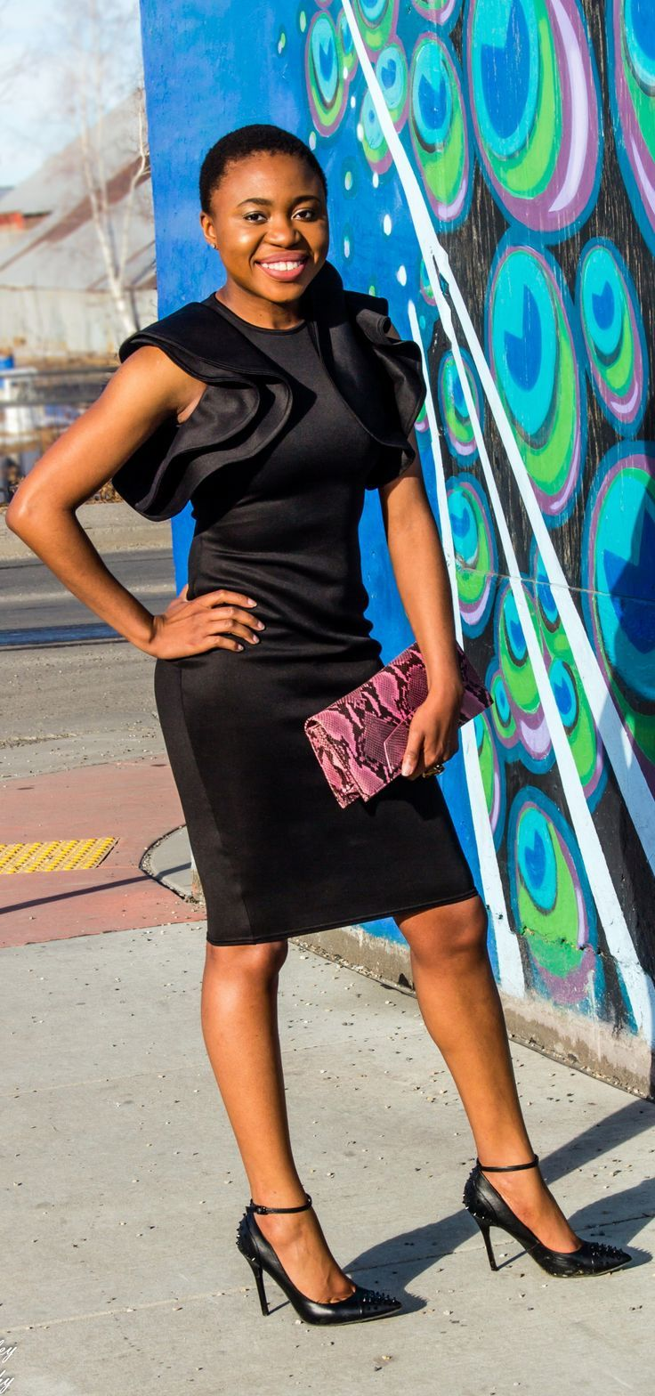 OMG! Love this black midi dress with ruffle sleeves. It'll be a perfect wedding guest look or a dressed up occasion. Love how she kept the look simple in this black monochrome look and a touch of pink. The statement sleeves, animal print purse, and studded heels make the look pop. Little Black Dress   Summer fashion   Fashion blogger   Spring style   Spring outfit   Bodycon dress outfit   Spring fashion   Summer looks   Summer hair   Street Style   Modest fashion   Conservative style  