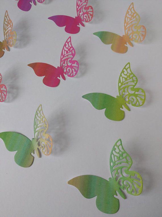 Farfalle Segnaposto Matrimonio.20 Farfalle Di Carta Fustellate Arcobaleno Farfalle Segnaposto