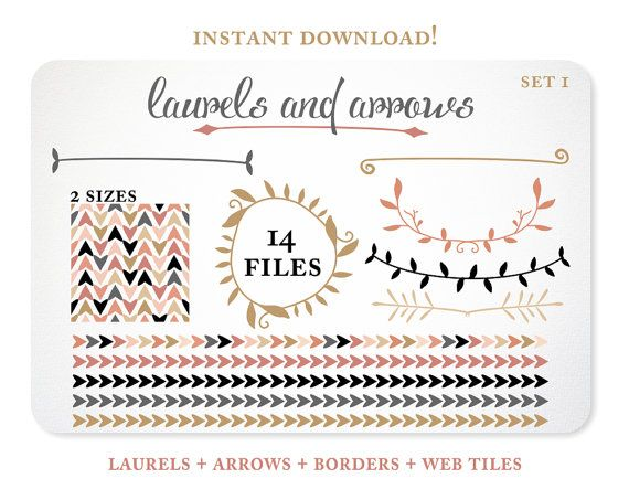 Arrows and Laurels Design Elements - Blog Background - Borders - Instant Download - Free Clipart w order via Etsy