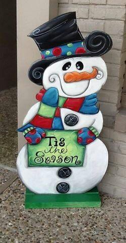 Wooden Snowman yard art