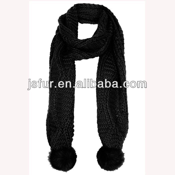 new arrival fox fur pom scarf handmade hotsale