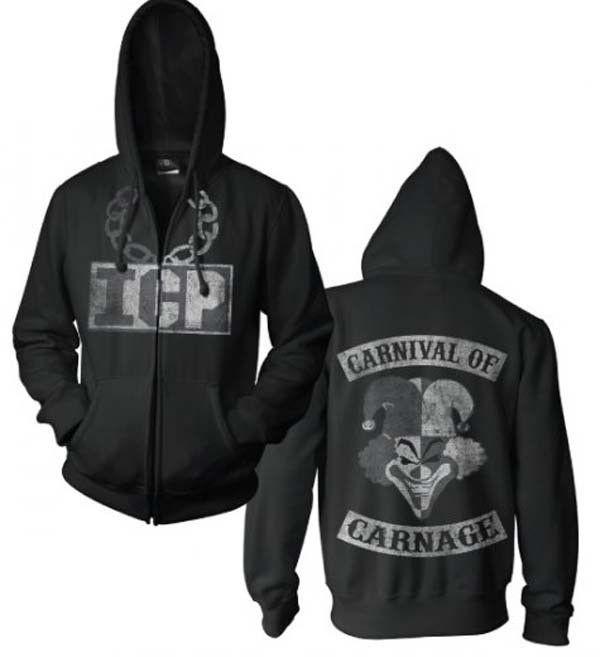 Officially licensed Insane Clown Posse Carnival of Carnage zip front hooded sweatshirt. Features front and back prints from Insane Clown Posse. Black. Gender: men Color: Black Age Group: adult