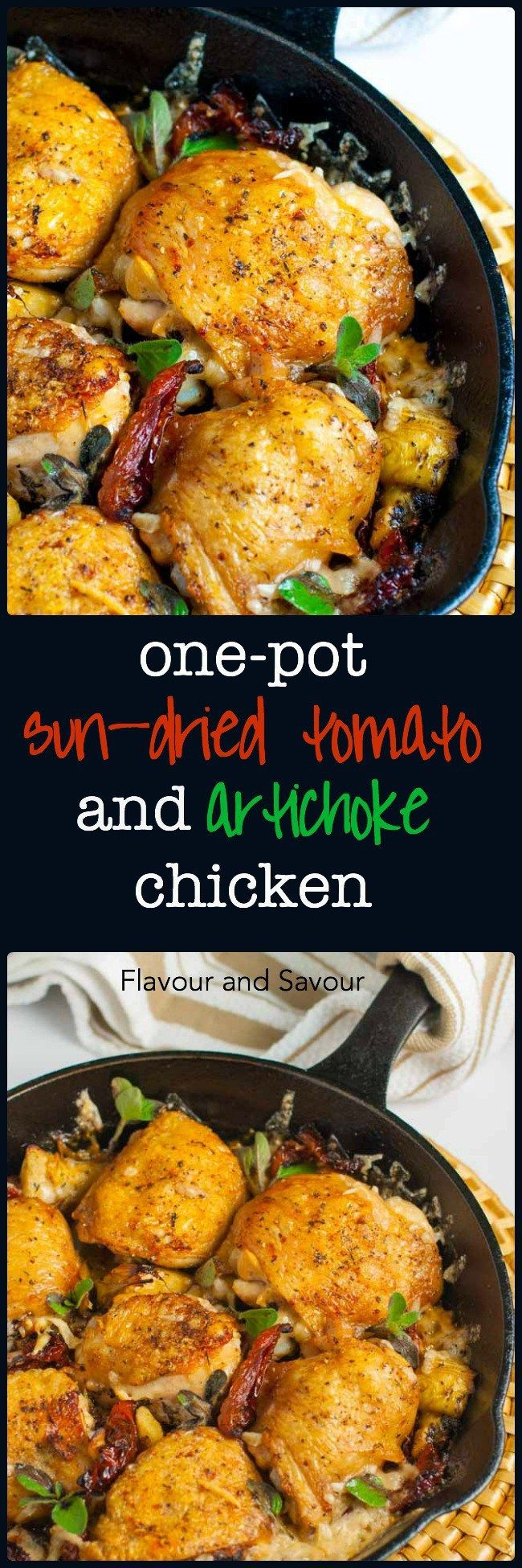 One-Pot Baked Sun-dried Tomato and Artichoke Chicken Thighs. Transport yourself to the hill towns of Tuscany with this easy chicken recipe full of the flavours of Italy. It's an easy recipe and a one-potl dish.