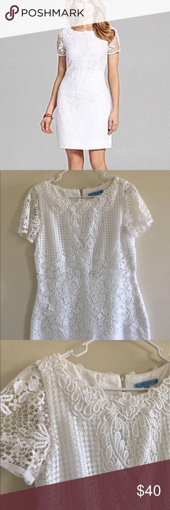 Antonio Melani Houston Dress size 6 Antonio Melani Dress size 6 color white crochet details zipper on back great condition like new!!! ANTONIO MELANI Dresses