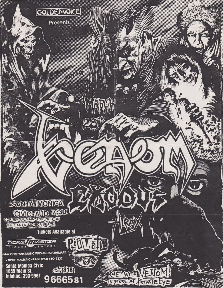 Cool Venom & Exodus flyer for the Santa Monica Civic Center