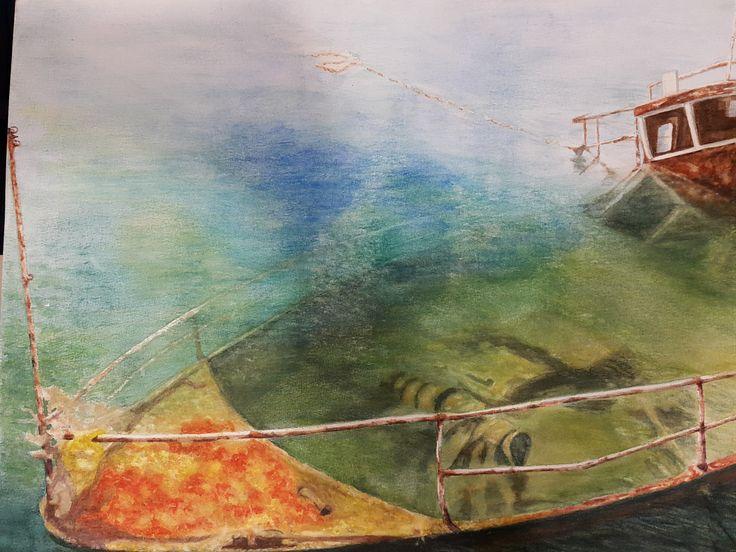 'Boat 4', in watercolour by Gayner Vlastou