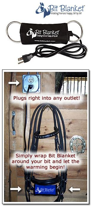 Bit Blanket Bit Warmer | ChickSaddlery.com For those fun winter rides! We actually used to bring our bridles inside the house during winter so they wouldn't become so cold sitting out in the barn. But for those who don't I suppose this is worth it.