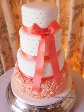 Tiered Wedding Cake with Piped Coral Rosettes and Piped Grey Pearls by Bath Cake Company, set up at Cumberwell Park