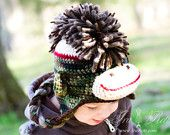 Chapeau de singe chaussette Camo avec Mohawk fait sur commande de chapeau au Crochet fait main